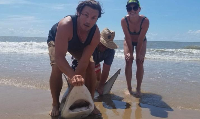 Lauren Biggers reeled in this nearly 7-foot shark after a two-hour fight. Then she released it back into the ocean. (Photo: Lauren Biggers via Facebook)