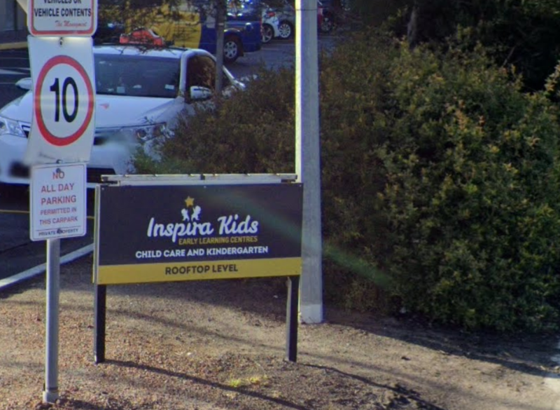 An Inspira Kids daycare centre sign is pictured.