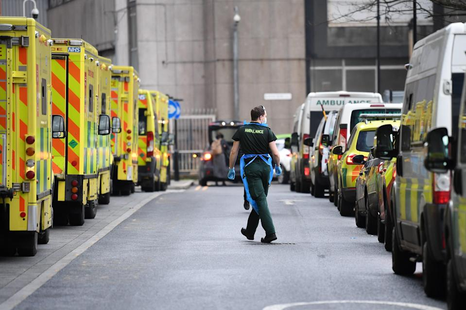 Ambulances at Whitechapel hospital in London during the second wave of coronavirus in January (PA Archive)