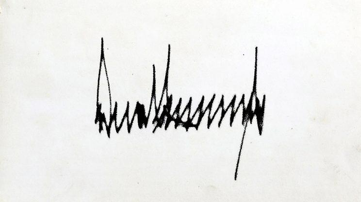 Donald Trump's presidential signature has sharp points and noticeable height.