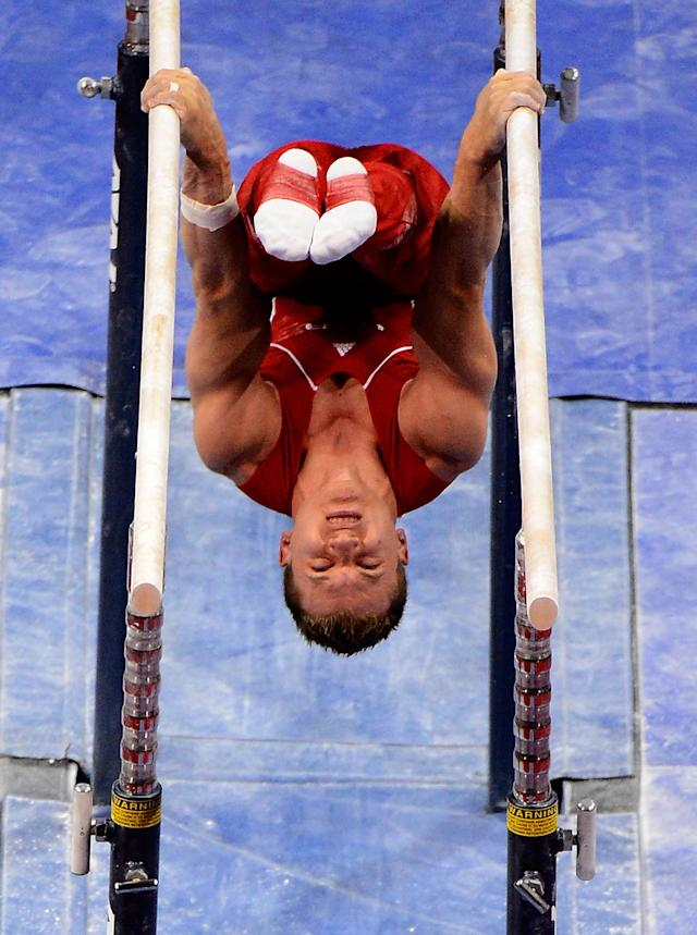 SAN JOSE, CA - JUNE 30: Jonathan Horton competes on the parallel bars during day 3 of the 2012 U.S. Olympic Gymnastics Team Trials at HP Pavilion on June 30, 2012 in San Jose, California. (Photo by Ronald Martinez/Getty Images)
