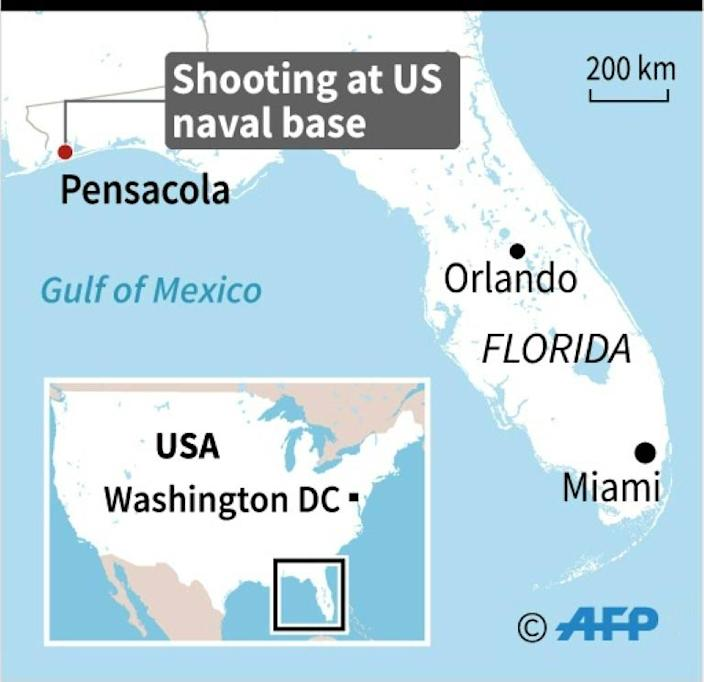 Map of Florida locating the Pensacola naval base., where a shooter was killed after opening fire on Friday. (AFP Photo/Nicolas RAMALLO)