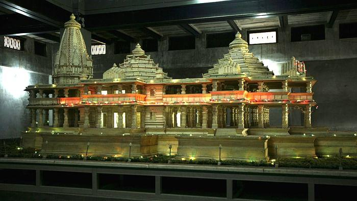 A model of the Ram Temple that Hindu organisations want built on the site on which the Babri Masjid was destroyed.