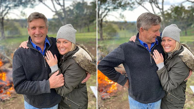Pictured is a split photo of Sunrise host Samantha Armytage showing off her ring after engagement to Richard Lavender.
