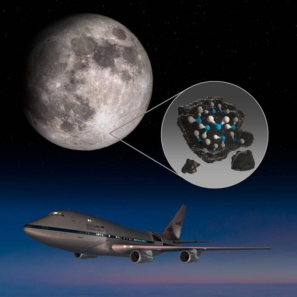 This illustration highlights the Moon's Clavius Crater with an illustration depicting water trapped in the lunar soil there, along with an image of NASA's Stratospheric Observatory for Infrared Astronomy (SOFIA) that found sunlit lunar water - NASA