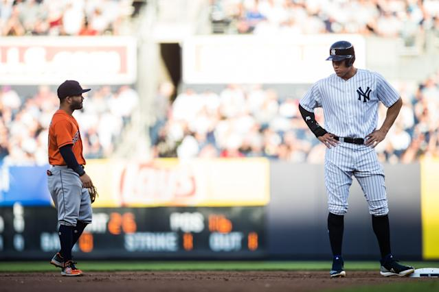 """In addition to losing the 2017 ACLS to the <a class=""""link rapid-noclick-resp"""" href=""""/mlb/teams/houston/"""" data-ylk=""""slk:Astros"""">Astros</a>, <a class=""""link rapid-noclick-resp"""" href=""""/mlb/players/9877/"""" data-ylk=""""slk:Aaron Judge"""">Aaron Judge</a> finished second to Jose Altuve in the MVP race. (Photo by Rob Tringali/MLB via Getty Images)"""