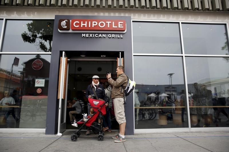 Man snaps a photograph at the entrance to Chipotle Mexican Grill in San Francisco