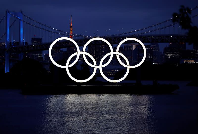 The giant Olympic rings are pictured, in Tokyo