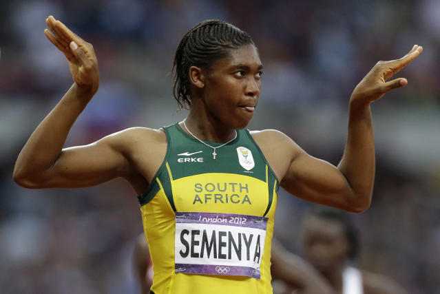 South Africa's Caster Semenya reacts after finishing in second place in the women's 800-meter final during the athletics in the Olympic Stadium at the 2012 Summer Olympics, London, Saturday, Aug. 11, 2012. (AP Photo/Lee Jin-man)