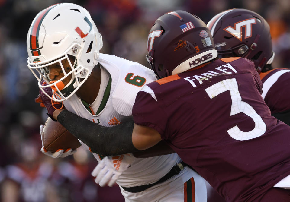 Virginia Tech CB Caleb Farley turned in an elite 2019 season before opting out for 2020. (Photo by Michael Shroyer/Getty Images)