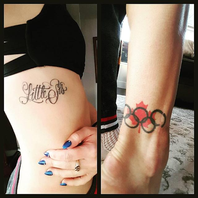 <p>She has a tattoo of the Olympic rings and a Canadian maple leaf just above the outside of her right ankle, commemorating her part in winning the silver medal in the figure skating team event at Sochi. (Photo via Instagram/kaetkiss) </p>