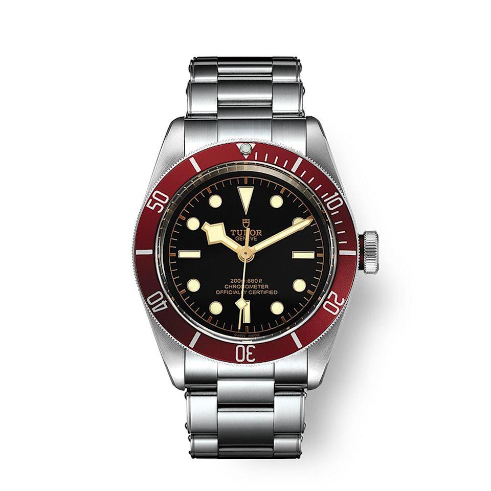 "<p><a class=""link rapid-noclick-resp"" href=""https://www.tudorwatch.com/en/watches/black-bay/m79230r-0012"" rel=""nofollow noopener"" target=""_blank"" data-ylk=""slk:BUY IT HERE"">BUY IT HERE</a></p><p>Owned by Rolex, Tudor watches offer rugged simplicity. Think of it as a top-quality watch for the outdoorsman. Muted shades such as olive green, cranberry, darkened gold, and matte black are offset by stainless steel that add polish to these masculine timepieces.</p>"