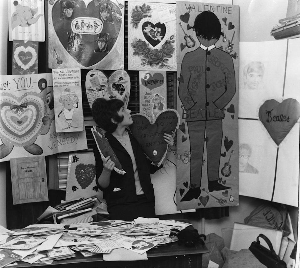 <p>In the thick of Beatlemania, the secretary of their fan club was surrounded by cards sent to the British group. </p>