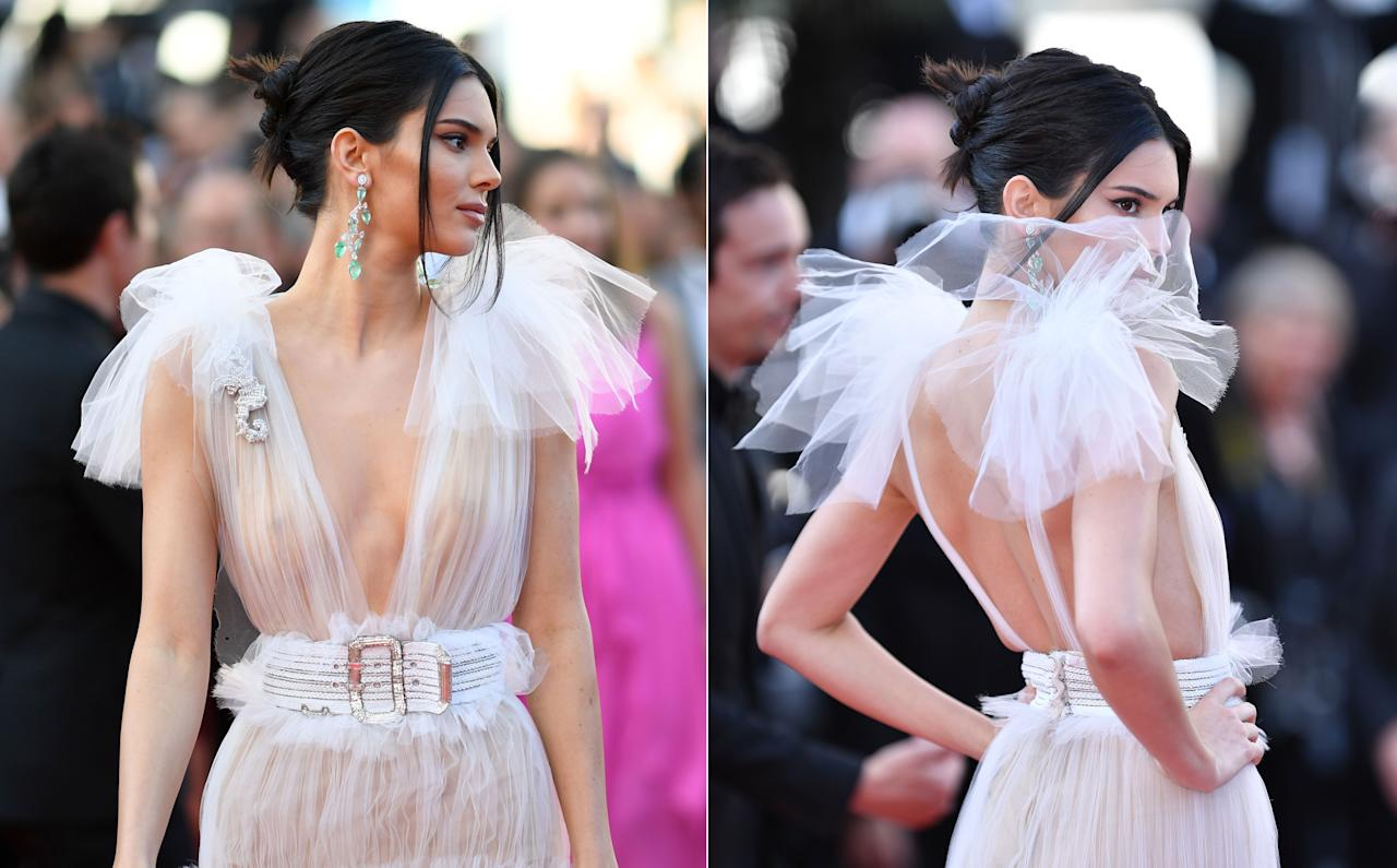 <p>Kendall Jenner turned heads in a stunning sheer gown at the premiere of <em>Girls of the Sun</em> in Cannes. <br />Photo: Getty </p>