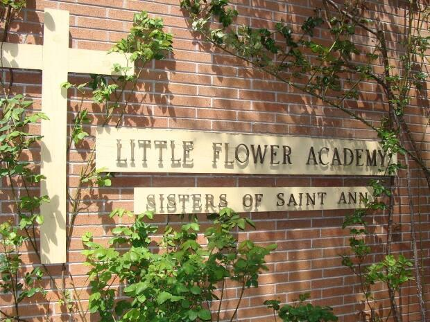 Original signage of Little Flower Academy, an all-girls Catholic school in Vancouver, B.C., founded by the same religious order of nuns that staffed the Kamloops Indian Residential School.