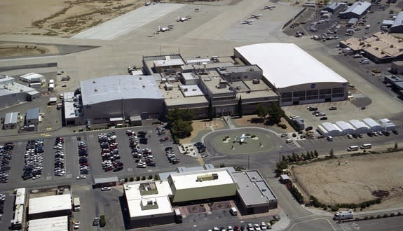 Aerial photo showing the original hangars and administrative buildings that were built in 1954 as they appeared in 2001 at what now will be known as the NASA Armstrong Flight Research Center, redesignated in honor of the late Neil A. Armstrong.