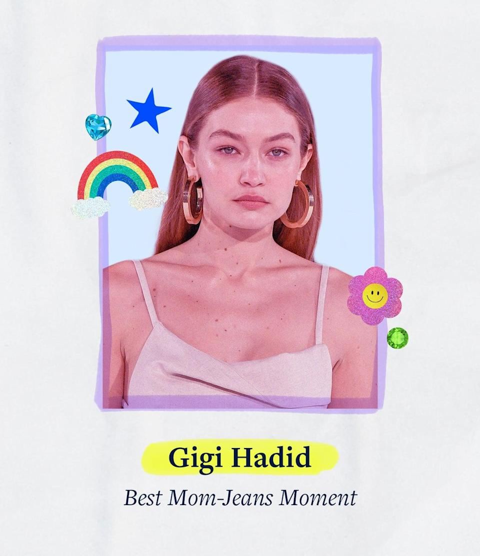 """<p>Motherhood looks good on Gigi Hadid, who aced the dress code in a pair of bedazzled """"mom jeans"""" - because moms can wear anything they want to.</p>"""