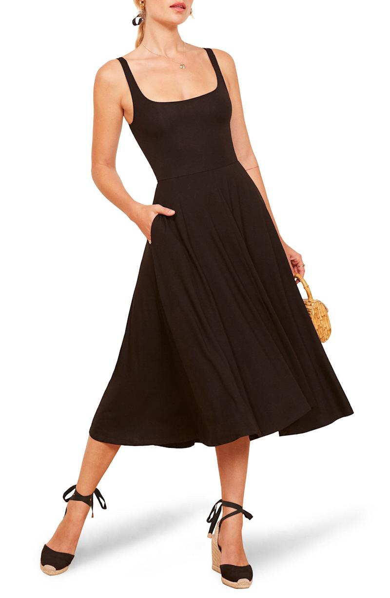 Reformation Rou Midi Fit & Flare Dress. Image via Nordstrom.