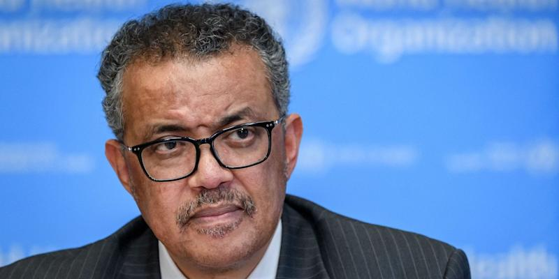 World Health Organization (WHO) Director-General Tedros Adhanom Ghebreyesu in Geneva on March 11.