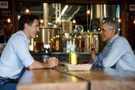 FILE PHOTO: Canada's Prime Minister Trudeau and former U.S. President Obama meet at brewery in Kanata