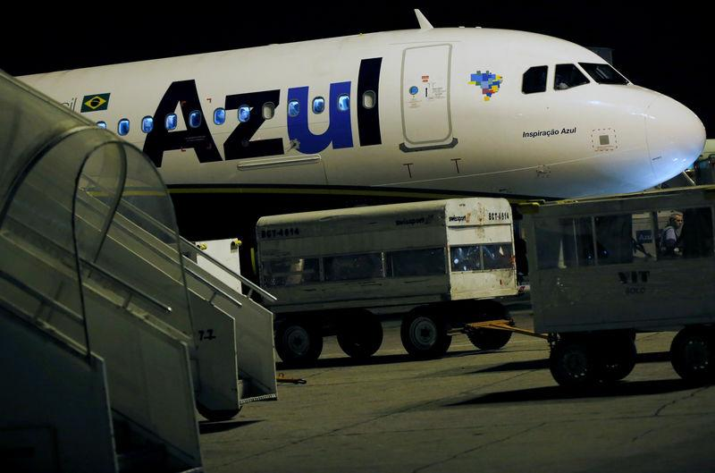 An Azul Brazilian Airlines plane prepares to take off at International Airport in Guarulhos