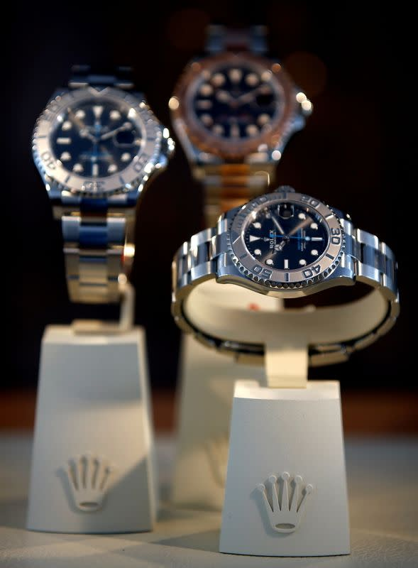 FILE PHOTO: Watches of Swiss watchmaker Rolex on display at the Monte Carlo Country Club