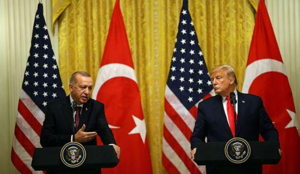 PHOTO: President of Turkey, Recep Tayyip Erdogan and President Donald Trump hold a joint press conference following their meeting at the White House, Nov. 13, 2019. (Halil Sagirkaya/Anadolu Agency via Getty Images)