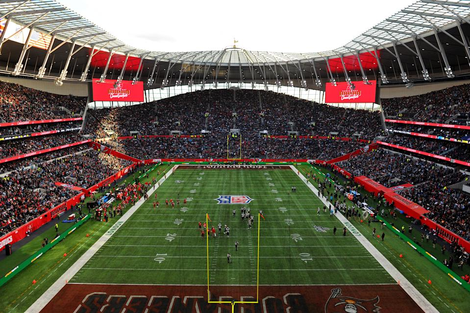 LONDON, ENGLAND - OCTOBER 13: General view inside the stadium during the NFL match between the Carolina Panthers and Tampa Bay Buccaneers at Tottenham Hotspur Stadium on October 13, 2019 in London, England. (Photo by Alex Burstow/Getty Images)