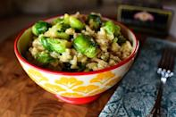 """<p>Browned butter gives this dish a satisfying, nutty flavor. It's just more proof that butter makes everything better!</p><p><strong><a href=""""https://www.thepioneerwoman.com/food-cooking/recipes/a78654/risotto-with-brussels-sprouts-and-browned-butter/"""" rel=""""nofollow noopener"""" target=""""_blank"""" data-ylk=""""slk:Get Ree's recipe."""" class=""""link rapid-noclick-resp"""">Get Ree's recipe.</a></strong></p>"""