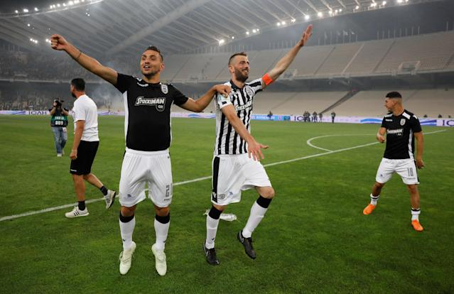 Soccer Football - Greek Cup Final - AEK Athens vs PAOK Salonika - Athens Olympic Stadium, Athens, Greece - May 12, 2018 PAOK Salonika's Efthimis Koulouris (L) celebrates after the match as they win the Greek Cup REUTERS/Alkis Konstantinidis