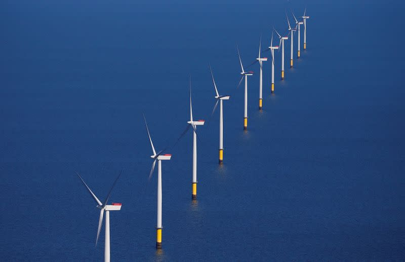 FILE PHOTO: General view of the Walney Extension offshore wind farm operated by Orsted off the coast of Blackpool