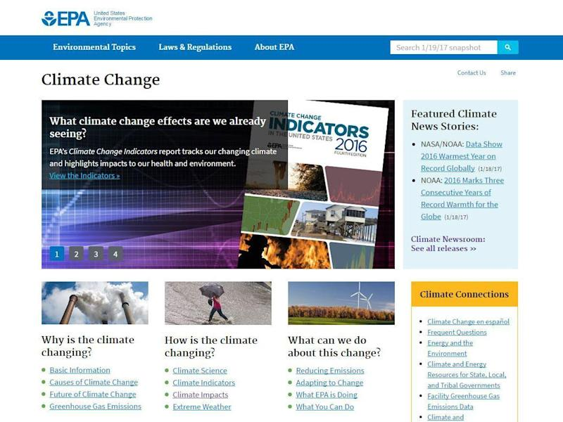The EPA web page on climate change as it appeared until yesterday (EPA/screengrab)