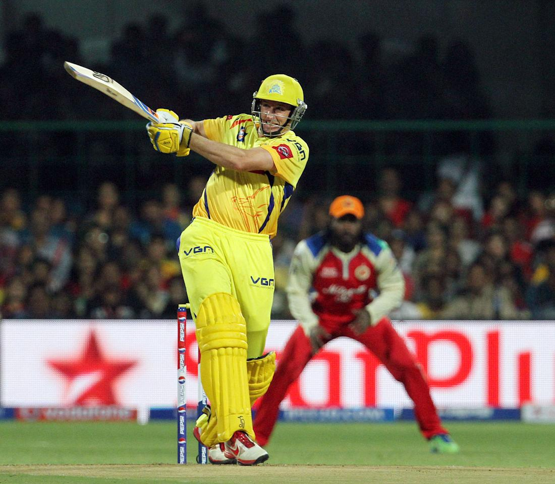Chennai Super King player Michael Hussey plays a shot during match 70 of the Pepsi Indian Premier League between The Royal Challengers Bangalore and The Chennai Super Kings held at the M. Chinnaswamy Stadium, Bengaluru  on the 18th May 2013. (BCCI)