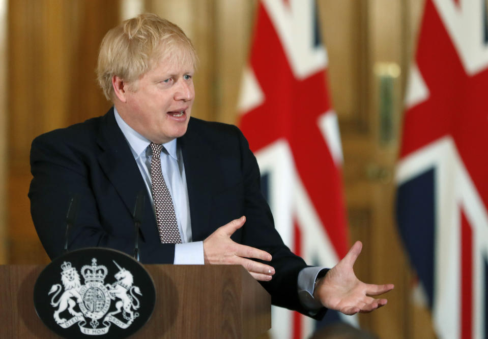 Prime Minister Boris Johnson speaks during a press conference, at 10 Downing Street, in London, on the government's coronavirus action plan.