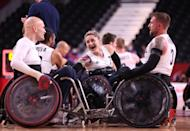 <p>Great Britain has won their first Paralympic wheelchair rugby gold medal and Kylie Grimes (number 7) has become the first woman to win a gold in the event, too.</p>