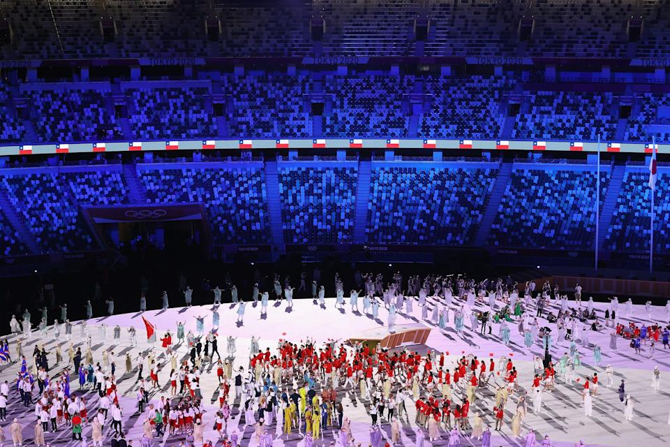 Team China at the opening ceremony.