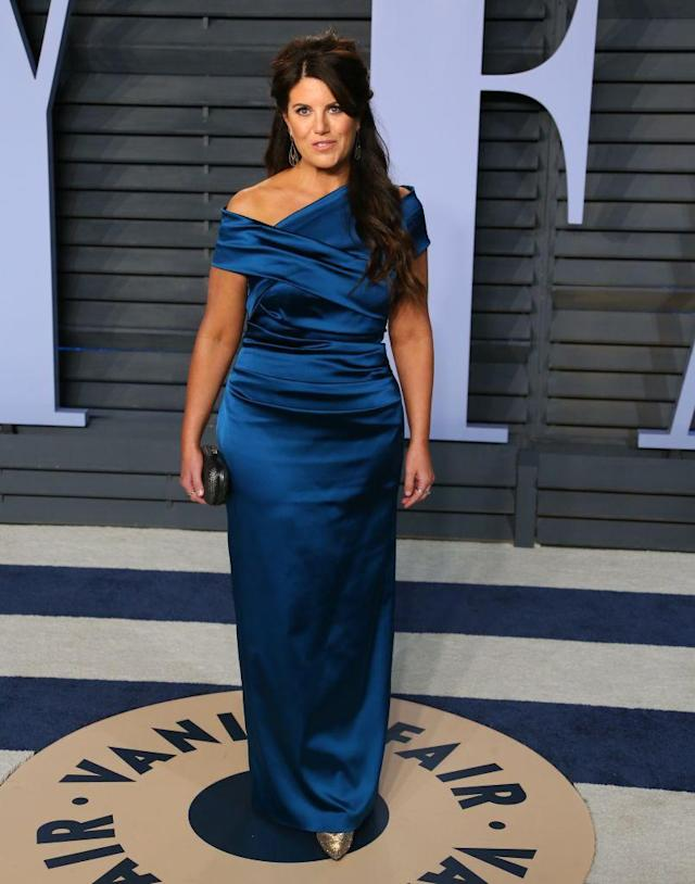 <p>Lewinsky stunned in a deep blue off-the-shoulder gown. (Photo: JEAN-BAPTISTE LACROIX/AFP/Getty Images) </p>