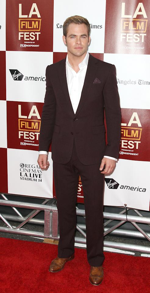 """LOS ANGELES, CA - JUNE 15: Actor Chris Pine attends the Film Independent's 2012 Los Angeles Film Festival Premiere Of DreamWorks Pictures' """"People Like Us"""" at Regal Cinemas L.A. LIVE Stadium 14 on June 15, 2012 in Los Angeles, California.  (Photo by Frederick M. Brown/Getty Images)"""