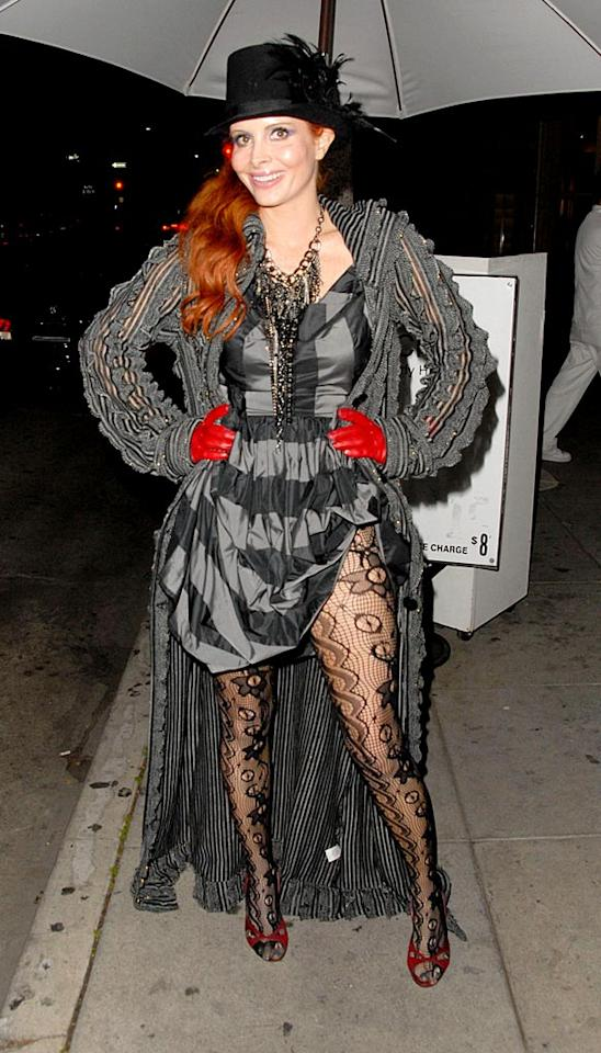 """Because Phoebe Price's acting career hasn't exactly gotten off the ground since she moved to LA many years ago, perhaps the Z-lister should finally consider enrolling in clown college. She's always decked out in circus freak chic. Adrian Varnedoe/<a href=""""http://www.pacificcoastnews.com/"""" target=""""new"""">PacificCoastNews.com</a> - January 14, 2010"""