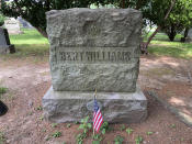 """The gravesite of pioneering Black comedian and singer Bert Williams appears on June 27, 2021, as part of a tour of jazz and vaudeville greats at Woodlawn Cemetery in the Bronx borough of New York. Williams was a star on Broadway and in film, and his recording of his most famous song, """"Nobody,"""" is played on an old Victrola during the tour. (AP Photo/Julia Rubin)"""