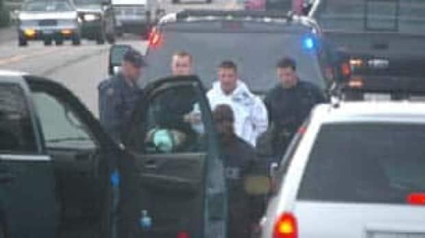 Jarrod Bacon being arrested in Abbotsford, B.C. on drug conspiracy charges.