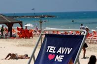 A large beach chair bearing part of the 2019 Eurovision Song Contest logo is seen on a beach as the opening ceremony of the contest begins tonight, in Tel Aviv, Israel May 12, 2019. REUTERS/Ronen Zvulun