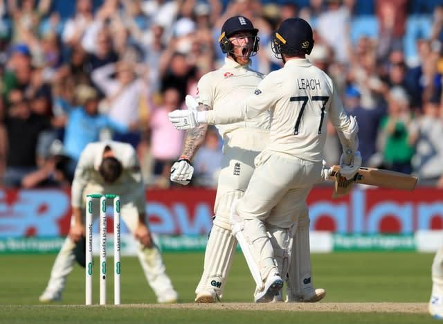 Leach and Stokes guided England to an incredible win at Headingley (Mike Egerton/PA)
