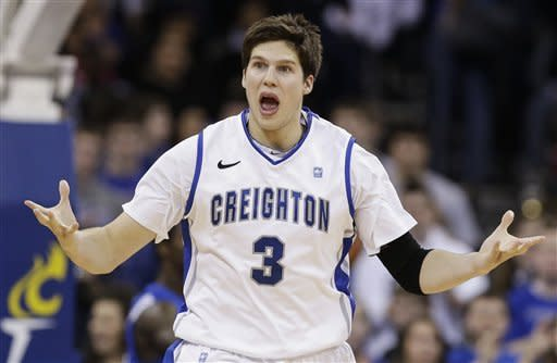 Creighton's Doug McDermott gestures after scoring against Indiana State during the first half of an NCAA college basketball game in Omaha, Neb., Saturday, Jan. 5, 2013. (AP Photo/Nati Harnik)