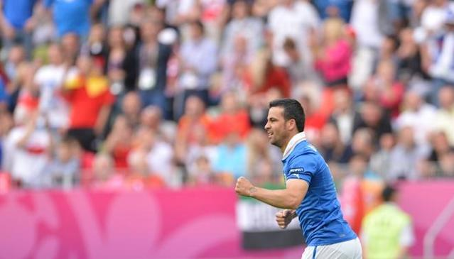 Italian forward Antonio Di Natale reacts after scoring during the Euro 2012 championships football match Spain vs Italy on June 10, 2012 at the Gdansk Arena. AFPPHOTO/ GIUSEPPE CACACEGIUSEPPE CACACE/AFP/GettyImages