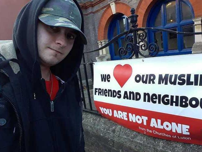 A mocking image of Filip Golon Bednarczyk stood outside a Luton church that was posted on his Facebook page (Facebook)