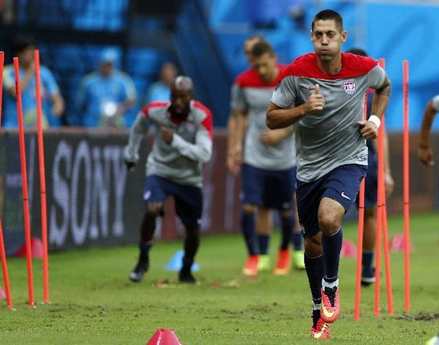 United States' Clint Dempsey works out during a training session at the Arena da Amazonia in Manaus, Brazil, Sunday, June 22, 2014. The U.S. will play Portugal in group G of the 2014 soccer World Cup on June 22. (AP Photo/Paulo Duarte)
