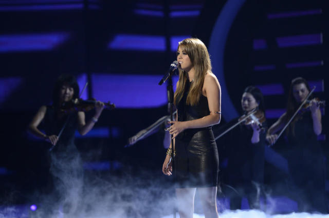 "Angie Miller performs ""Sorry Seems to Be the Hardest Word"" on the Wednesday, May 8 episode of ""American Idol."""
