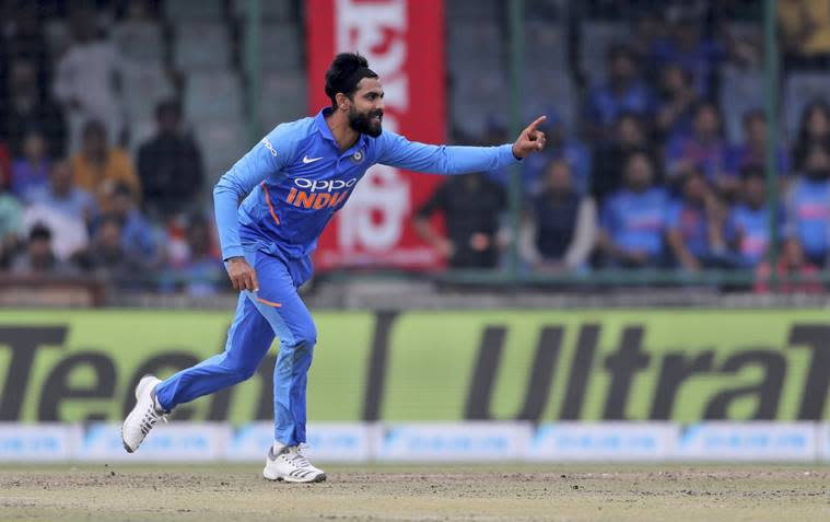 India's Ravindra Jadeja celebrates the wicket of Australia's captain Aaron Finch during the final one day international cricket match between India and Australia in New Delhi
