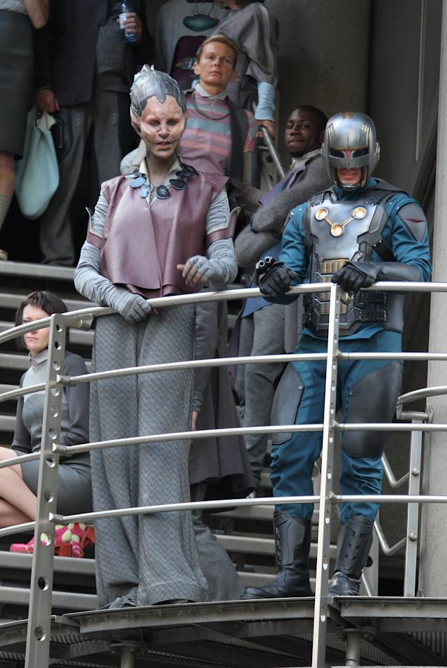 "Glenn Close (C) sighting in full make-up filming scenes for ""Guardians of the Galaxy"" on August 11, 2013 in London, England. (Photo by Simon James/FilmMagic)"